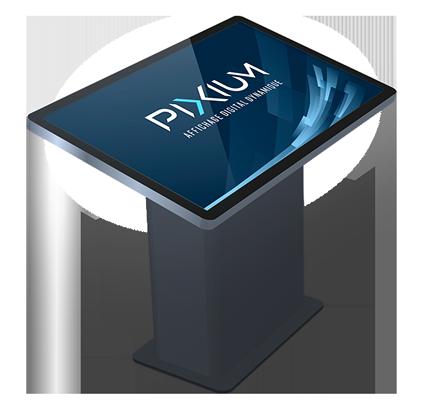 Borne tactile pour affichage dynamique par Pixium.