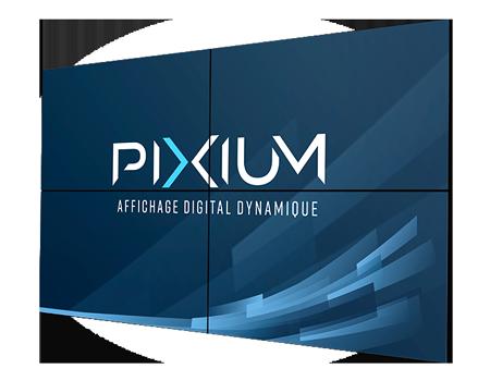Mur d'écrans professionnels pour affichage dynmaique/Digital Signage par Pixium.